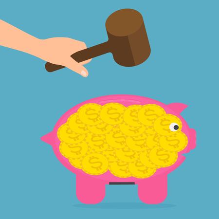desperation: Hand hold wood hammer for destroy piggy bank. Vector illustration flat design money savings concept.