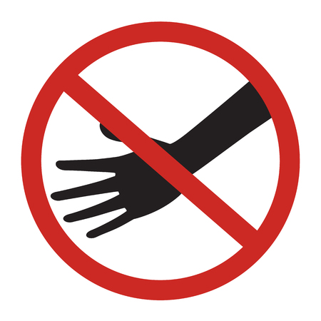 do not touch: Prohibited circle do not touch sign with black hand isolated on white background vector illustration design. Illustration
