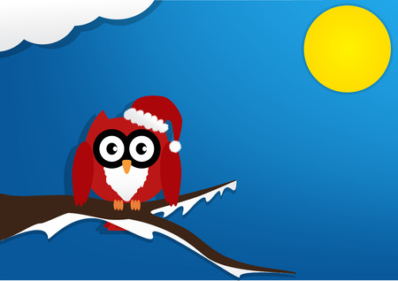 soul mate: Red owl on maple tree with wearing a red santa claus hat in night with moon on blue background. Vector illustration design Christmas holiday background concept. Illustration