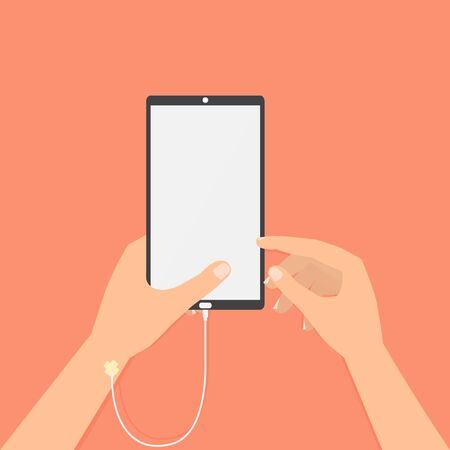 telecoms: Human hand with smart phone saline solution and hand point to screen. Vector illustration social addiction internet online concept.