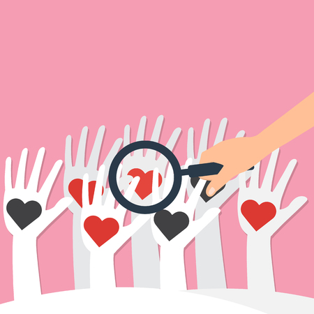 exploration: Human hand hold a magnifying glass for find love heart on white hands. Vector illustration looking for love concept.