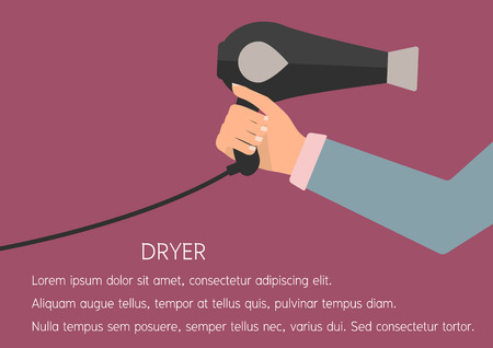 drier: Woman hand holding a hair dryer for drying hair. Vector illustration flat design beauty and make up concept.