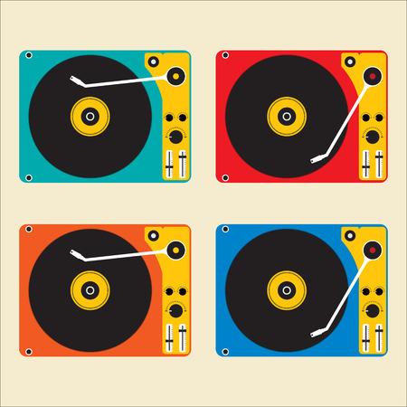 disk jockey: Flat design muticolor of Disk record player for DJ music. Vector illustration design.