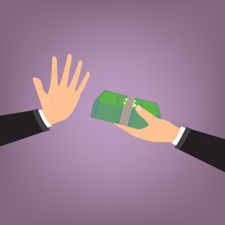 Businessman hand refusing the offered bribe . Vector illustration business concept design.