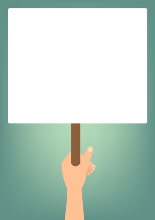 woman fist: Hand hold a blank protest signs on bright green background.