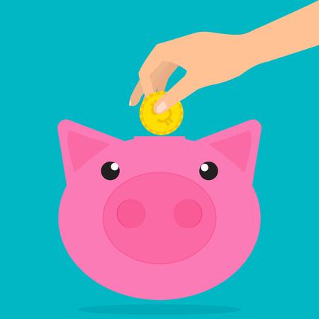 banco dinero: La mano del hombre que pone la moneda en una alcancía con sombras. Diseño plano ilustración vectorial concepto de ahorro de dinero. Vectores