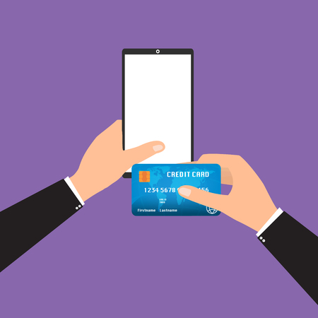 smart card: Businessman holding tablet smart phone and credit card for online payment. Vector illustration mobile payment omnichannel e-commerce concept. Illustration