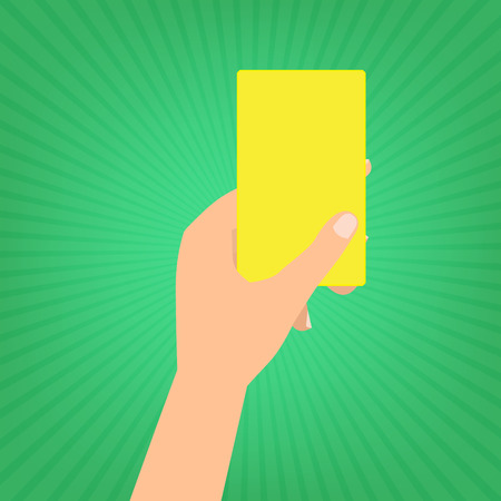 yellow card: Human hand holding a yellow card on green sun ray background. Illustration