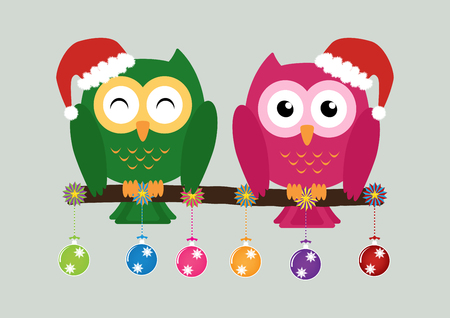 soul mate: Two owls on tree wearing a red santa claus hat with christmas multicolor balls and colorful ornaments . Vector illustration design Christmas holiday background concept. Illustration