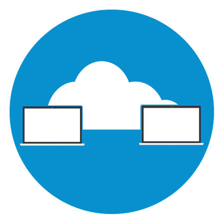 connectivity concept: Two computers laptop connected cloud icon. Vector illustration cloud computing technology world connectivity concept.