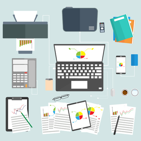 hard stuff: Top view of table working space home office. Workplace with computer business work flow item, gadgets, printer, telephone and projector for business meeting. Vector illustration in flat design.