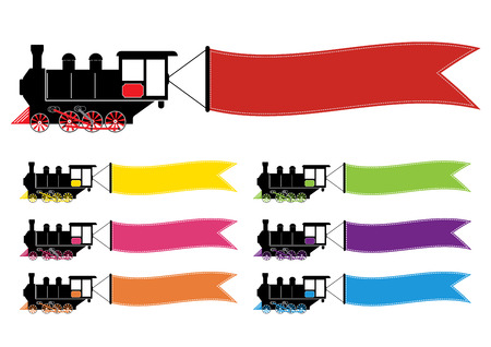 Abstract vector illustration with locomotive train with multi colors banners for text banners. Flat design.