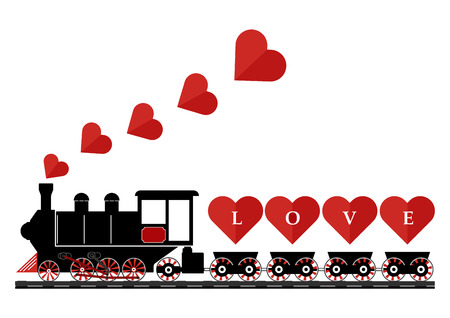 Abstract vintage steam engine locomotive love train truck with love hearts on railroad track isolated on white background. Vector illustration flat design valentine day love concept.