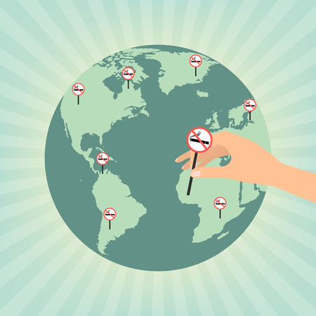 smoldering cigarette: Human hand putting no smoking sign on globe wold map on sun rays background. Vector illustration flat design World No Tobacco Day concept. Illustration