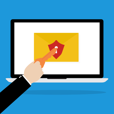empty keyhole: Computer laptop with red shield email and keyhole with human hands with key for unlock the protection on blue background. Flat design of cyber crime technology concept design. Illustration