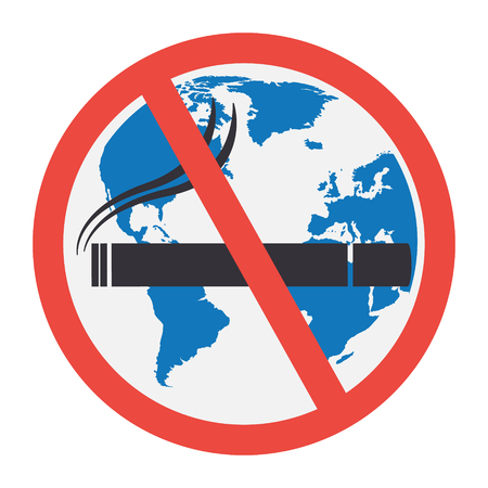 wold: No smoking sign with globe wold map background on white background. Vector illustration flat design World No Tobacco Day concept.