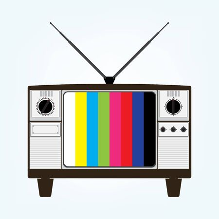 tehnology: Vintage old television with color bars test image. Vector illustration in flat design.