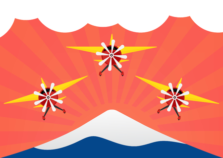 Group of airplane with yellows wing on red sun rays and moutain like Mt.Fuji. Vector illustration flat design.