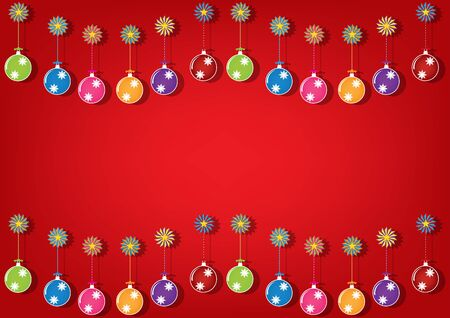 brigh: Christmas multicolor balls and colorful ornaments on brigh red background. Vector illustration design.