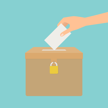 polling place: Human hand putting voting paper in the ballot box. Vector illustration flat design election concept.