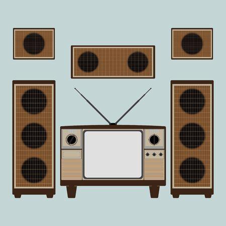 tehnology: Vintage old brown television with loudspeaker and power amplifier on bright blue background. Flat design vector illustration. Illustration