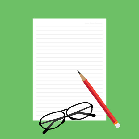 novel: Top view of blank paper with line red pencil green desk background with glasses. Vector illustration flat design.