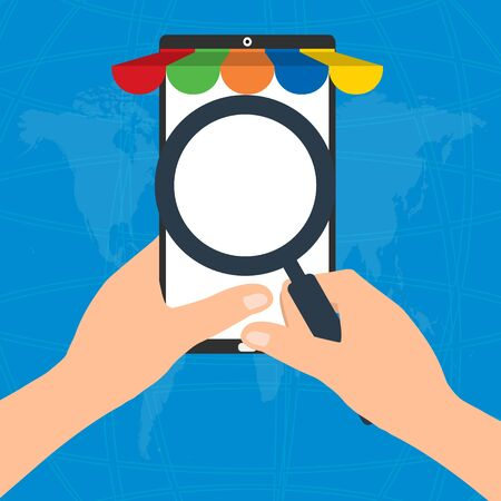 safty: Businessman hold a magnifying glass for choosing internet online shopping on mobile tablet smart phone on world map background.  E-Commerce online shopping concept.