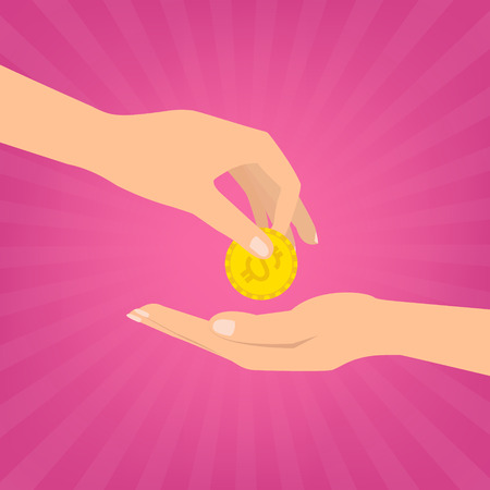 sunray: Human hand putting money coins to hand for donate on pink sunray background. Flat design vector illustration donate money concept. Illustration