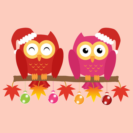 soul mate: Two owls on maple tree wearing a red santa claus hat with christmas multicolor balls and colorful ornaments . Vector illustration design Christmas holiday background concept. Illustration