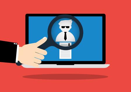 conclusion: Hombre de negocios tienen una lupa para elegir el derecho personal con el curriculum vitae el mejor candidato en internet laptop computer.Vector ilustración concepto de reclutamiento y búsqueda de empleo.
