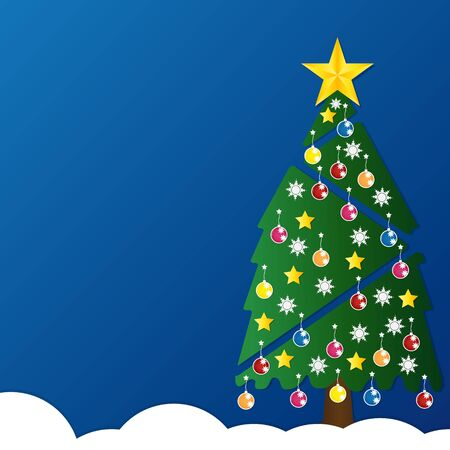 GLOD: Christmas tree with colorful ornaments and glod star on white snow in night light blue background. Vector illustration. Illustration