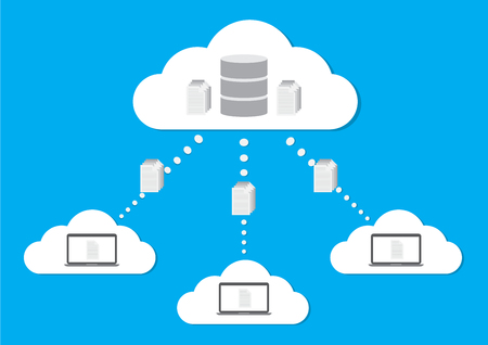 Cloud computing concept design cloud database. Vector illustration design.