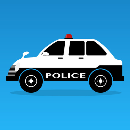 interceptor: Police cars classic style with siren black and white colors on yellows background . Vector illustration flat design. Illustration