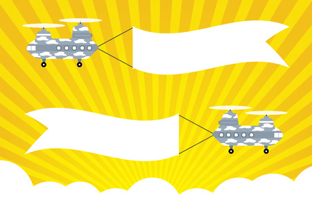 replica: Military Helicopter Chinook with banners for text banners on yellow sun rays and cloud background. Vector illustration flat design.