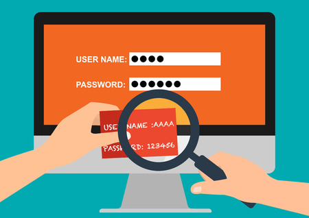 logon: Hand hold user name and password in paper  and magnifying glass for logon computer. Vector illustration flat design business policy and privacy concept for data security protection.