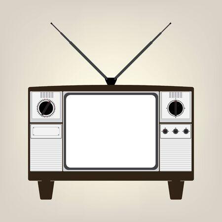 old television: Vintage old television with balnk display no signal. Vector illustration in flat design. Illustration