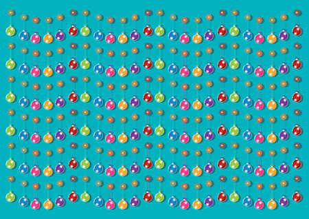 brigh: Christmas multicolor balls and colorful ornaments on brigh blue background. Vector illustration design. Illustration