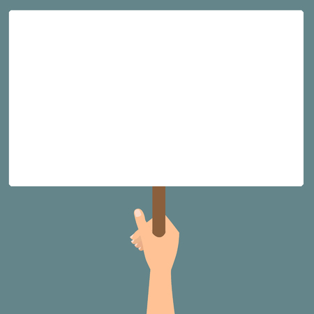 protest design: Human hand hold a blank protest signs on green background. Vector flat design.