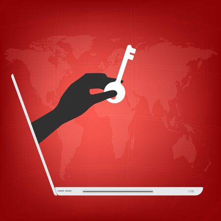 Hand from laptop display with key for locked data in computer on red world map background. Vector illustration business technology data privacy and security concept.