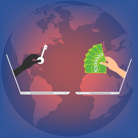 Hand from laptop display with key locked data and hand got banknote for paying to unlock data on globe background. Vector illustration business technology data privacy and security concept. Stock Illustratie