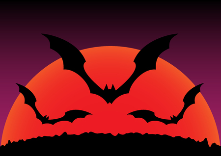 flying bats: Silhouette of sunset and flying bats halloween background. Vector illustration.
