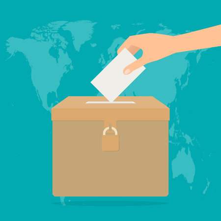 Human hand putting voting paper in the ballot box on world map background. Vector illustration flat design election concept. Illustration