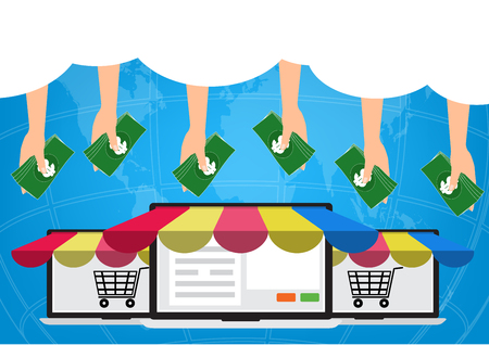 Hands with money from cloud on internet for shopping online.Vector illustration Omnichannel online marketing concept.