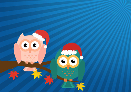 soul mate: Two owls on maple tree wearing a red santa claus hat on blue sun ray background. Vector illustration design Christmas holiday background concept.
