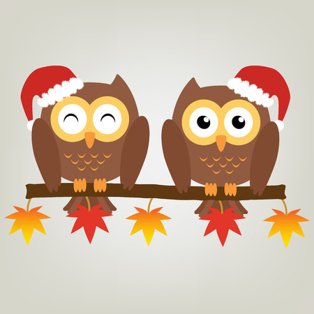 soul mate: Two owls on maple tree wearing a red santa claus hat. Vector illustration design Christmas holiday background concept.