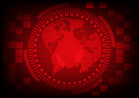 Red gear ring with malware bug a computer virus on world map on binary code background.Vector illustration security technology concept.