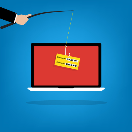 fishhook: Businessman hold a fishhook for phishing username and password logon on victim laptop notebook. Vector illustration computer security technology concept.