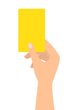 penalty card: Football soccer referee hand with yellow card on white background.