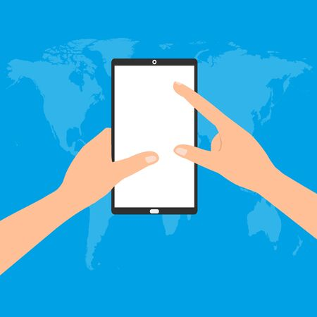 smartphone in hand: Human hand holding a tablet smartphone with point and touching a blank screen on world map blue background. Vector illustration flat design business technology concept.