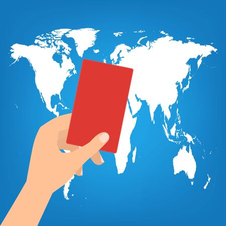 boycott: Human hand hold a red card on world map background. Vector illustration boycott concept.